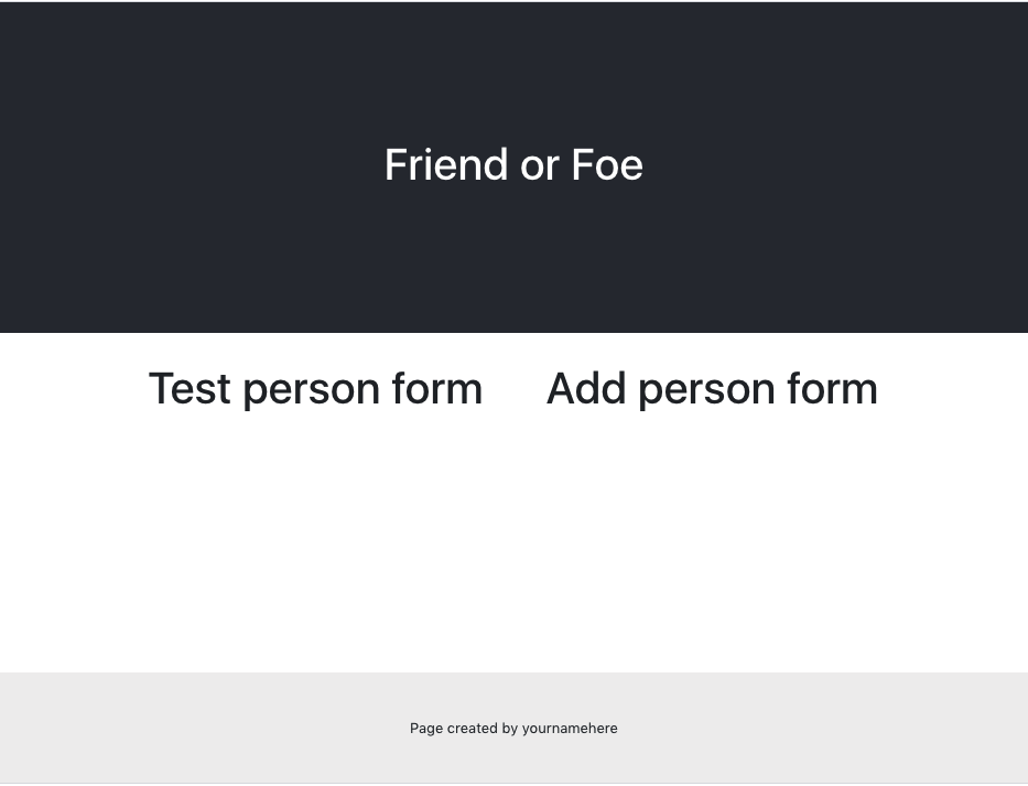 """title of friend of foe with section on left """"test person form"""" and section on right """"add person form"""""""