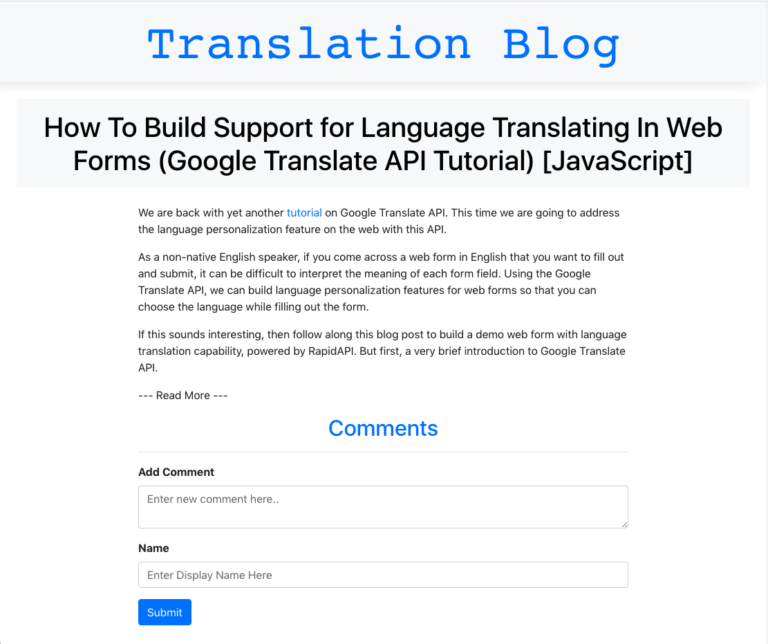 translation blog with article and commenting functionality