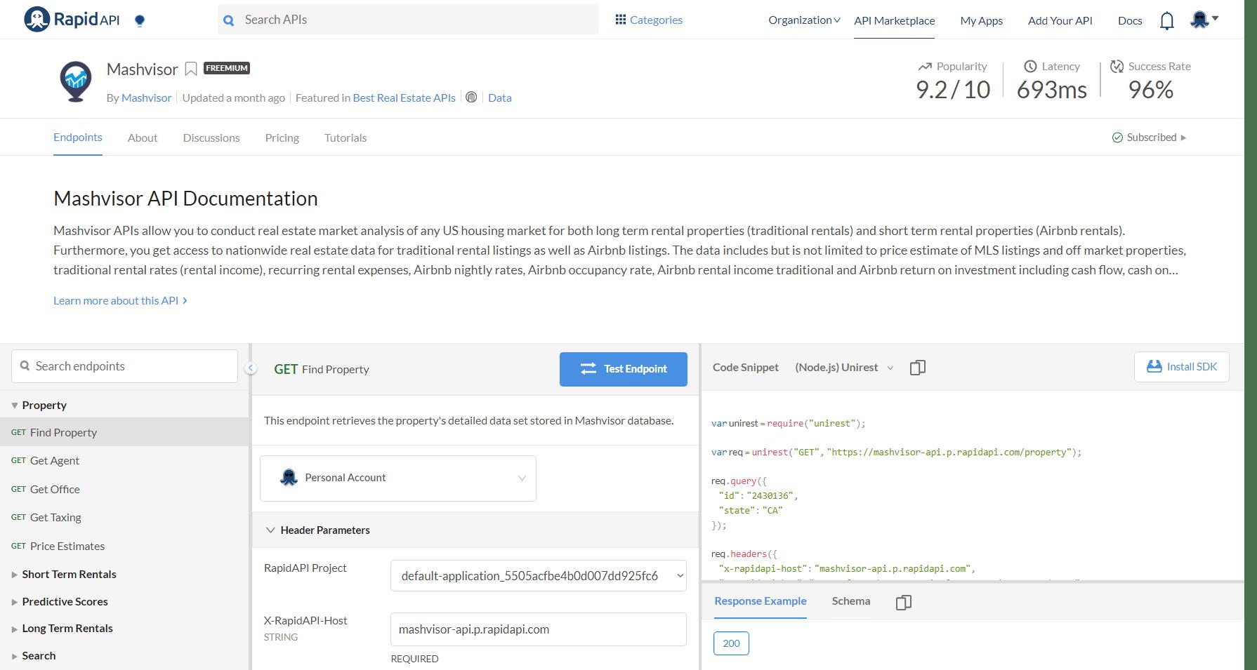 Mashvisor-API-Console