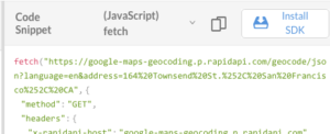 code snippet for fetch Javascript function to API