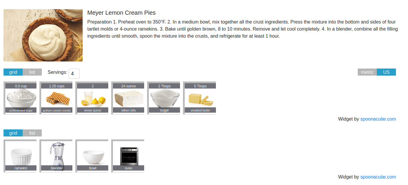 food website detailed recipe page