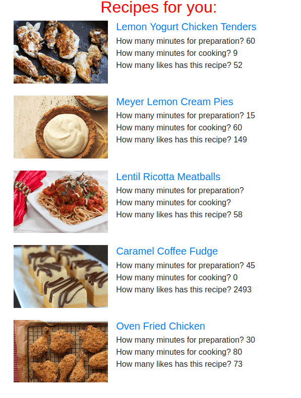 food website results page