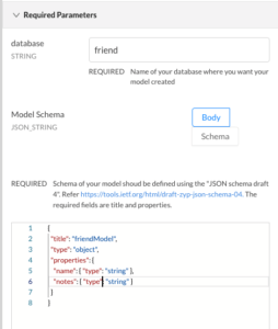friendModel schema with title, name, notes attributes