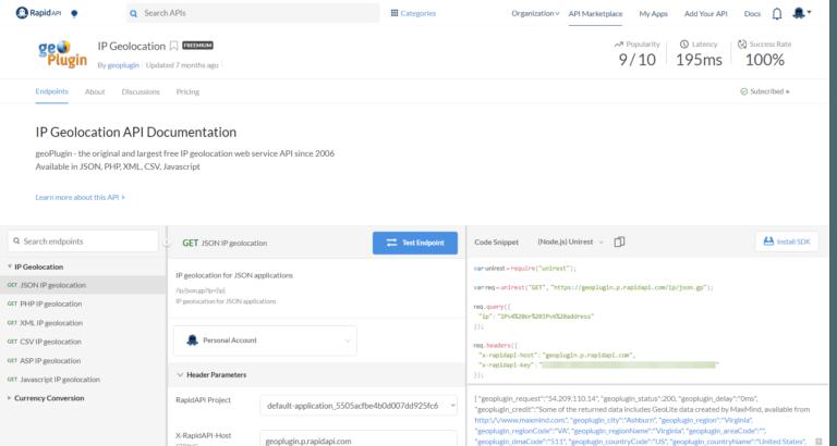 geoPlugin-API-Console