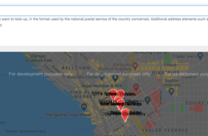 google map with for development purposes only overlay