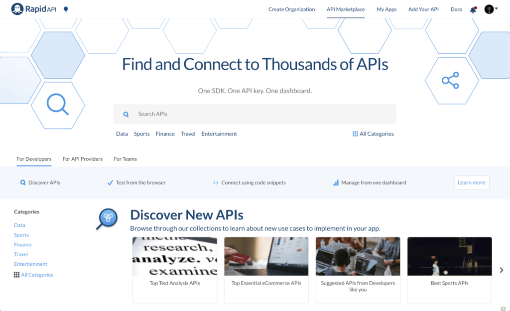 RapidAPI - find and connect to 1000s of APIs