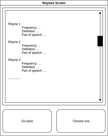 word app rhymes screen