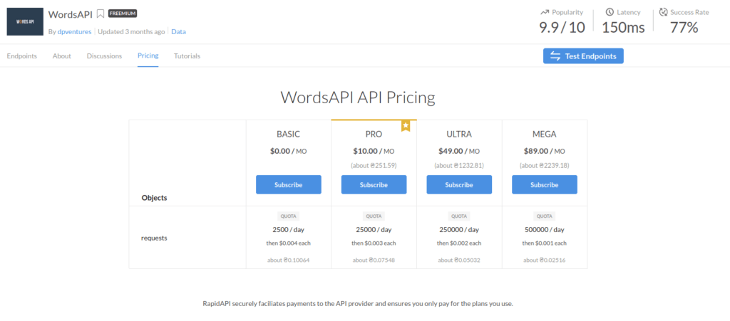 wordsapi pricing