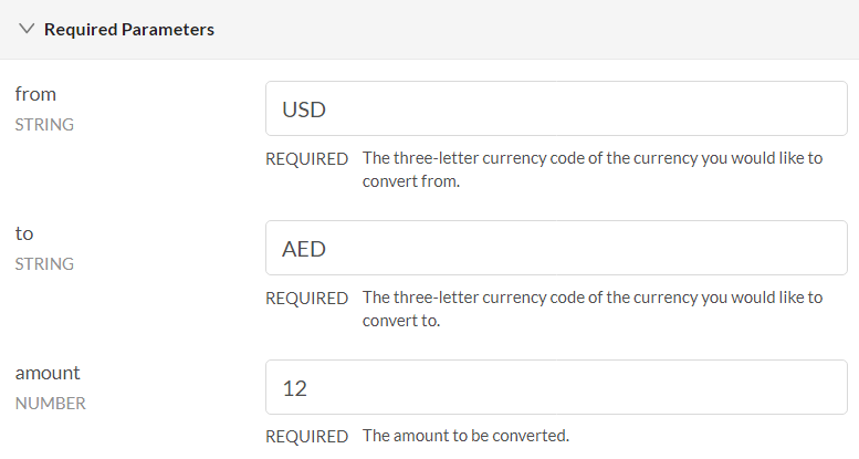 Fixer Currency API GET Convert Parameters