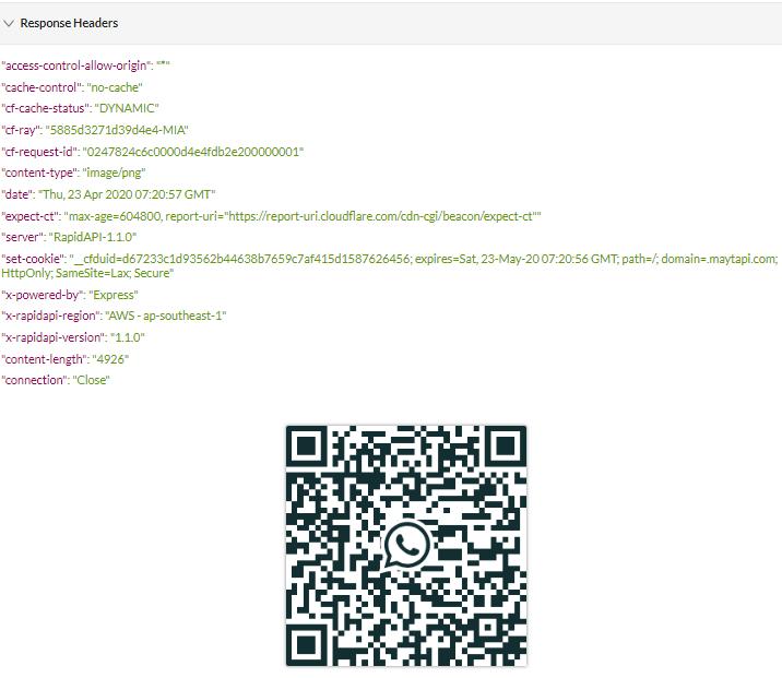 Maytapi API getQRCode Response