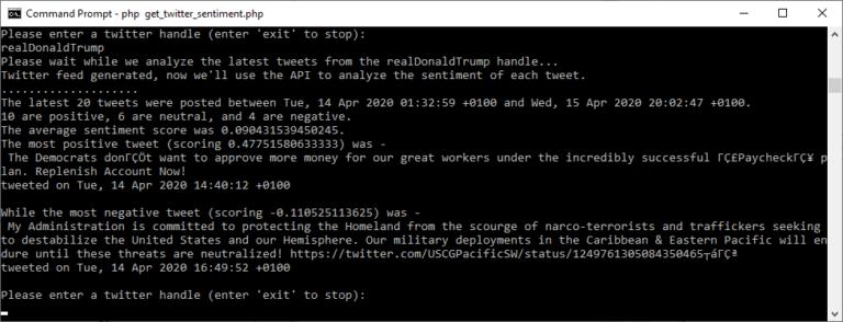 Twitter Sentiment API Usage