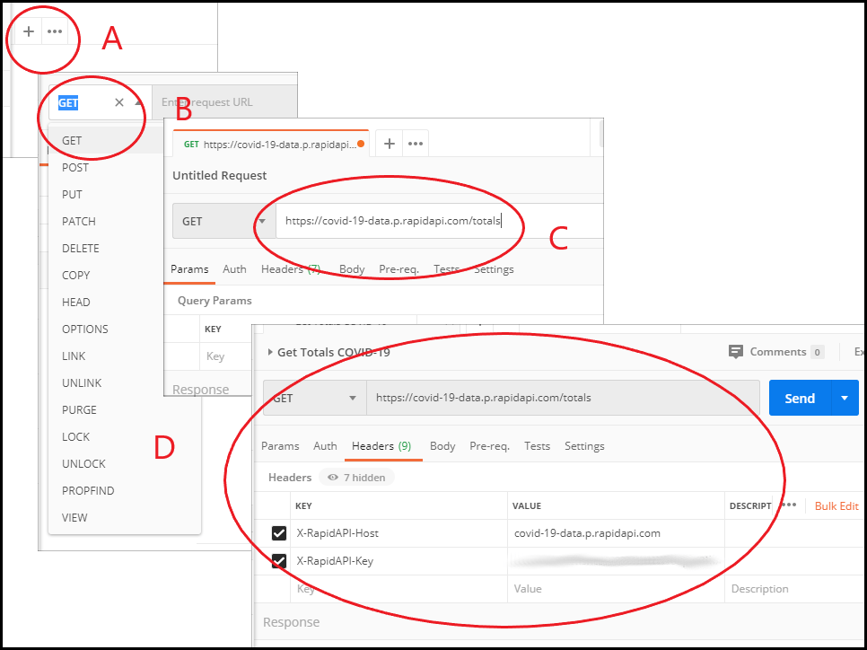 Creating a GET request in Postman.