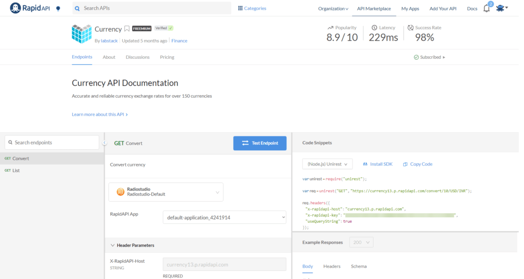 Labstack Currency API Console