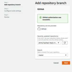 selecting github repository