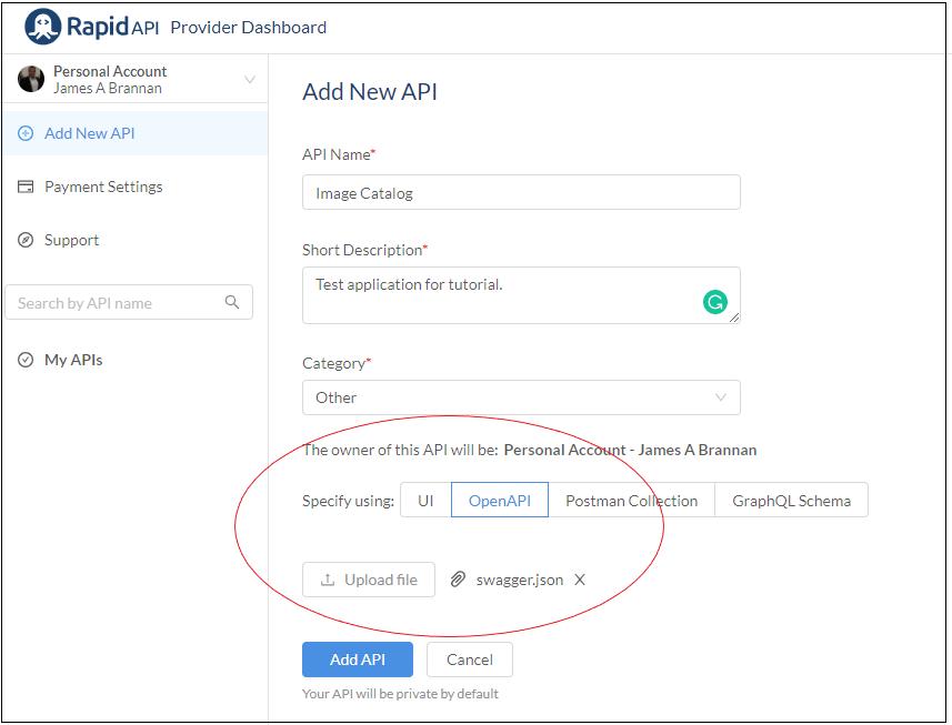 Uploading Swagger file to define API.
