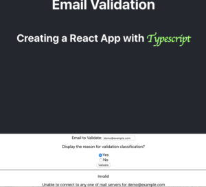 invalid response from email verifier