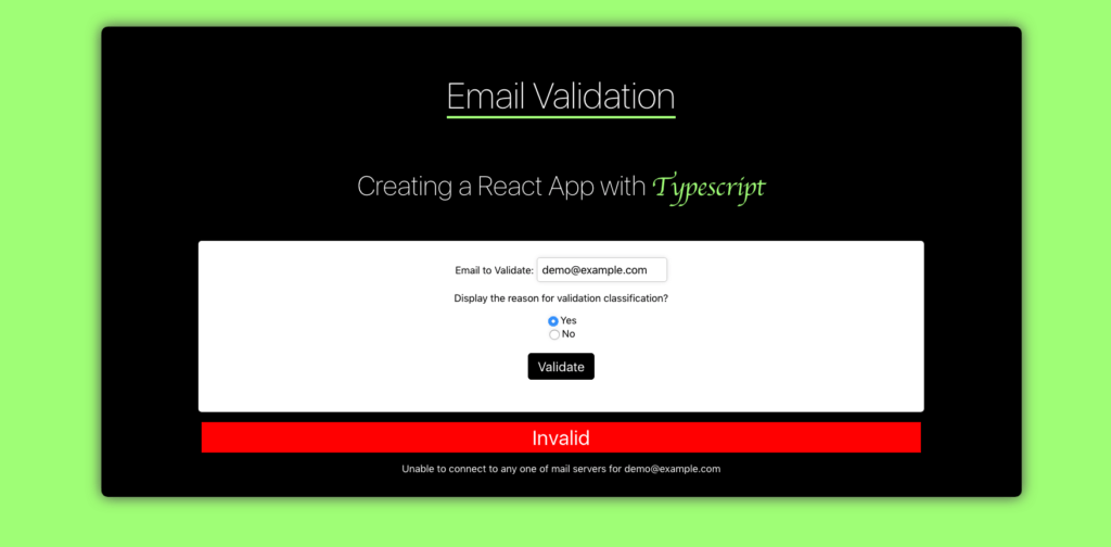 final app for email validation and typescript