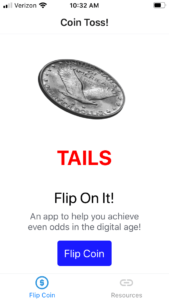 final app displaying tails or heads on flip