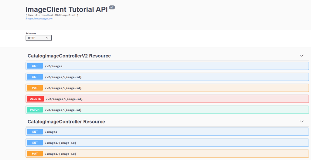 Swagger displayed both API versions.