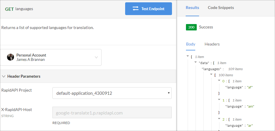 Languages endpoint in RapidAPI with no target language specified.