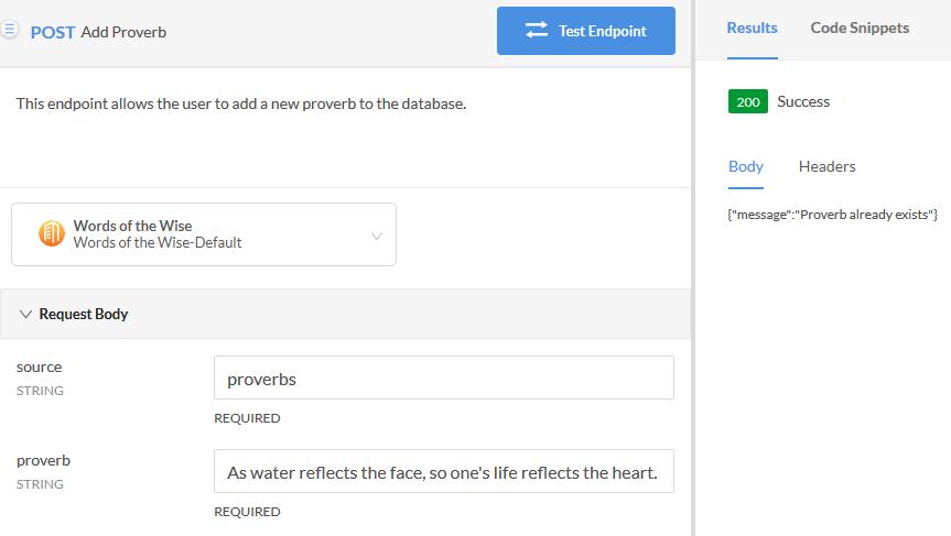 Add Proverb Test