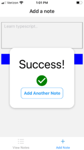 success modal aftering adding new note