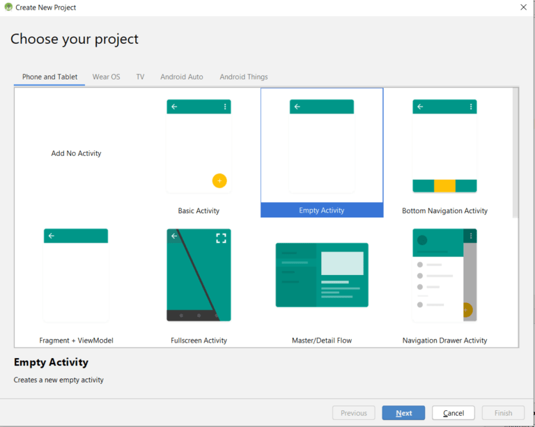 New Android Project Dialog 1