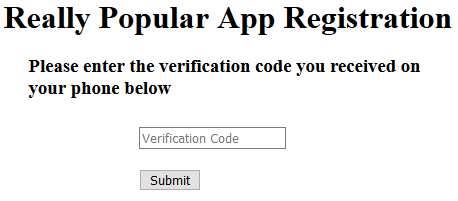 Really Popular App Verification Form