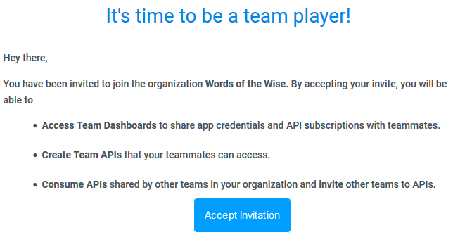 Team Invite Message
