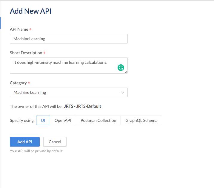 add api details