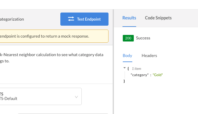 mock response in dashboard