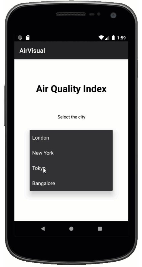 Air Quality App Screen One