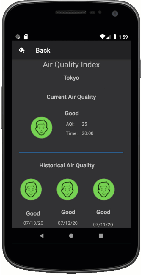 Air Quality App Screen Two