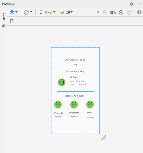 AirVisual Android Studio Project DisplayResults UIMock