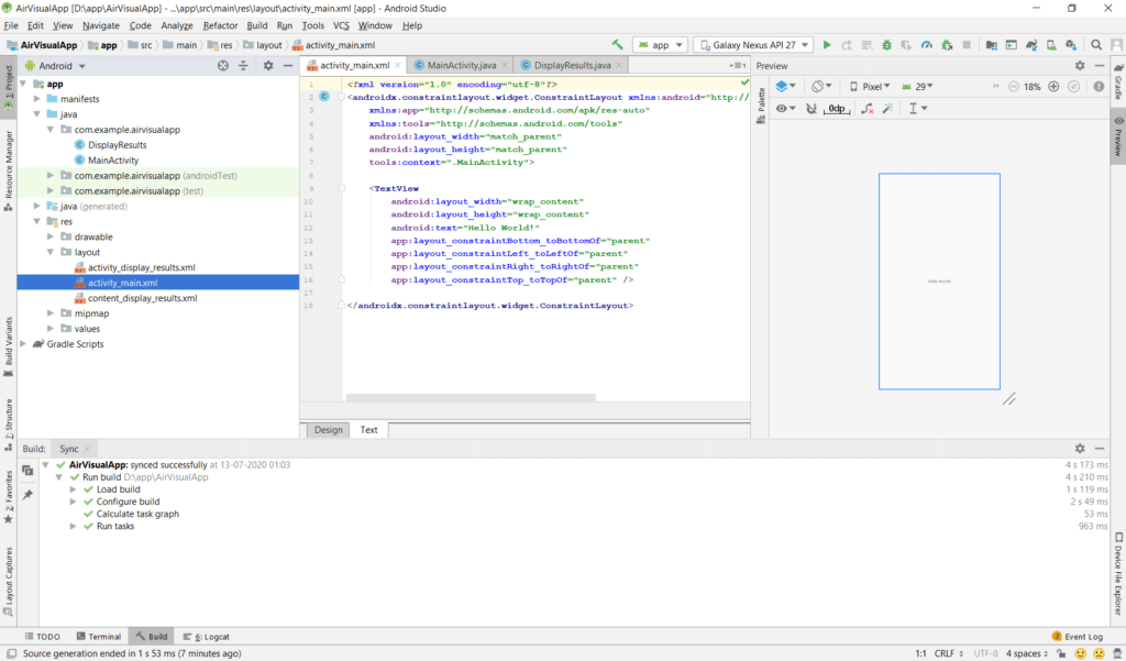 AirVisual Android Studio Project MainActivity Layout