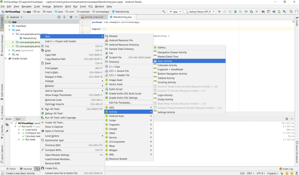 AirVisual Android Studio Project NewActivity Menu