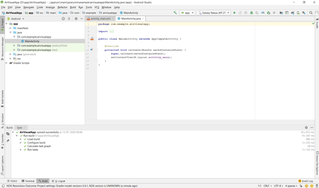AirVisual Android Studio Project Screen