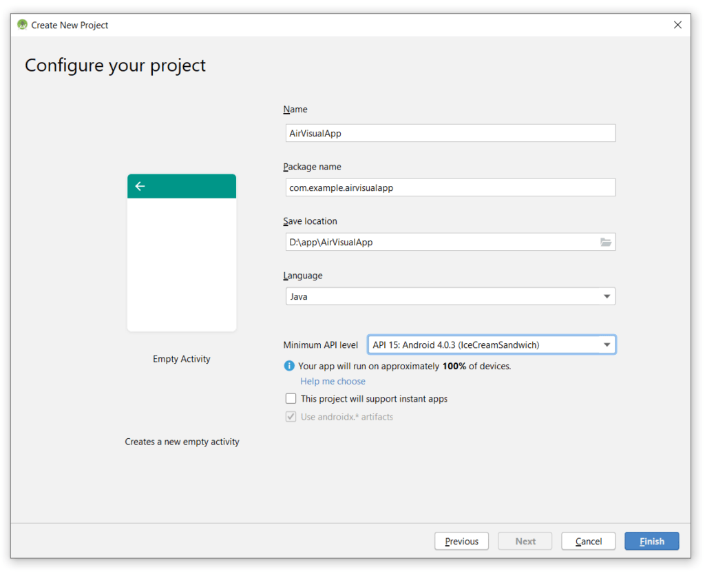 AirVisual Android Studio Project Setting