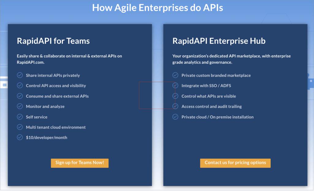 RapidAPI for Teams and RapidAPI Enterprise Hub.