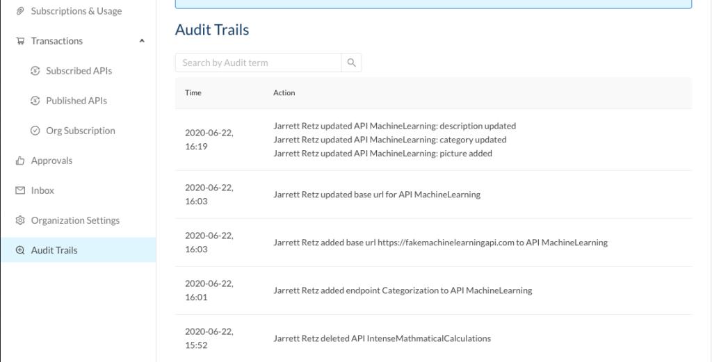 rapidapi audit trails