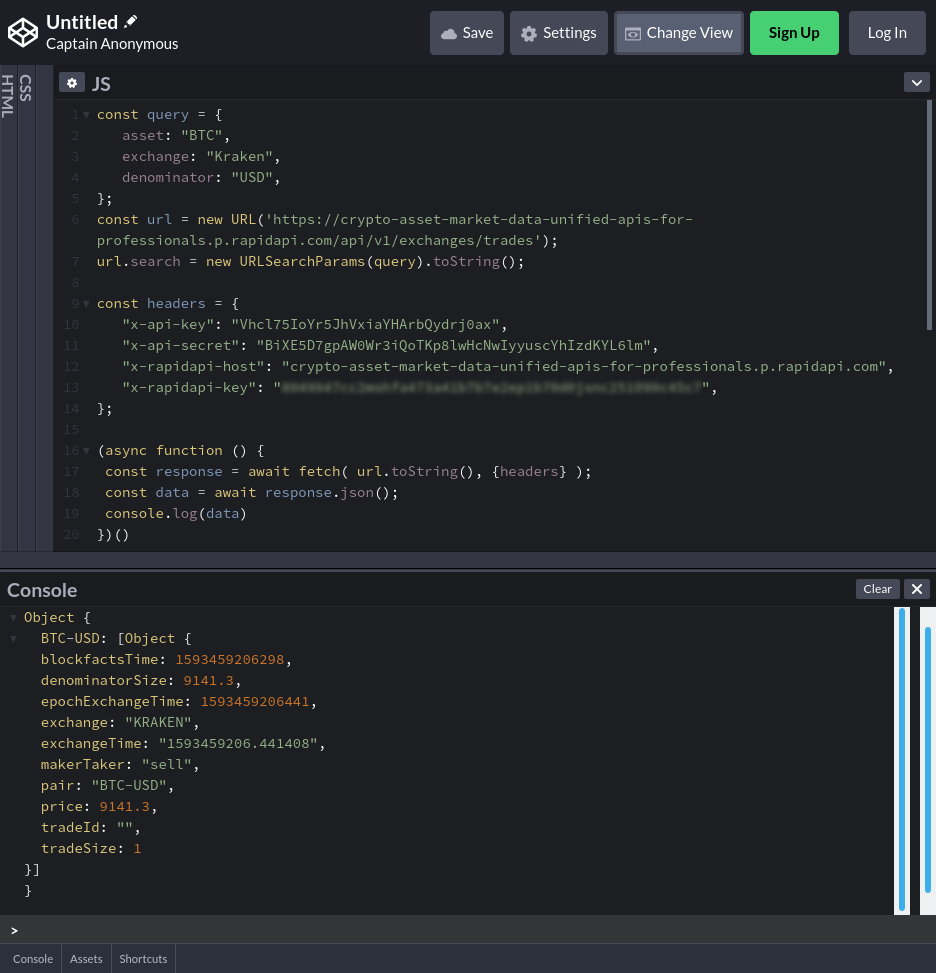 Codepen code & console