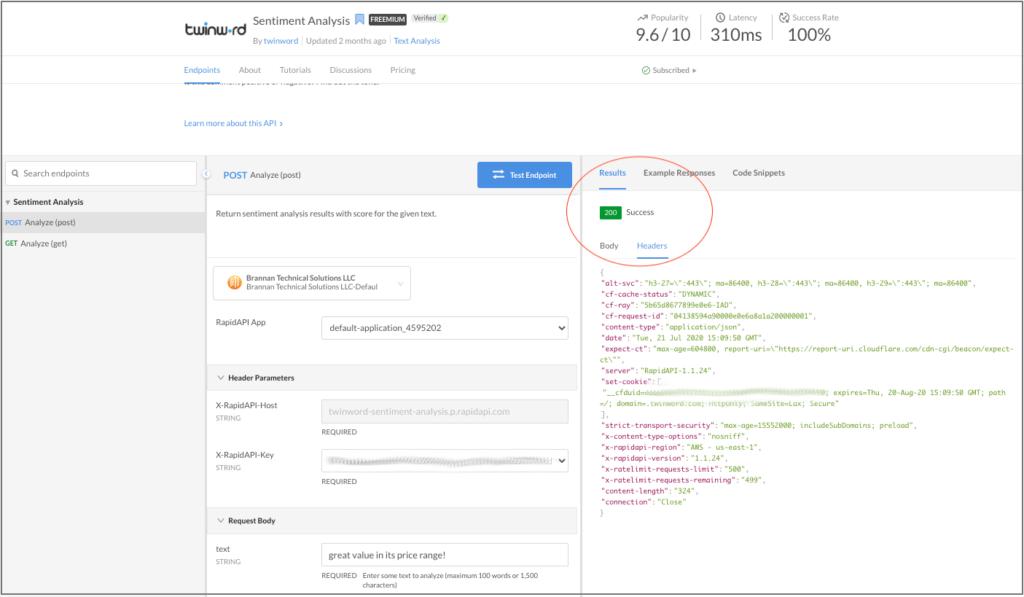 HTTP headers in RapidAPI dashboard.