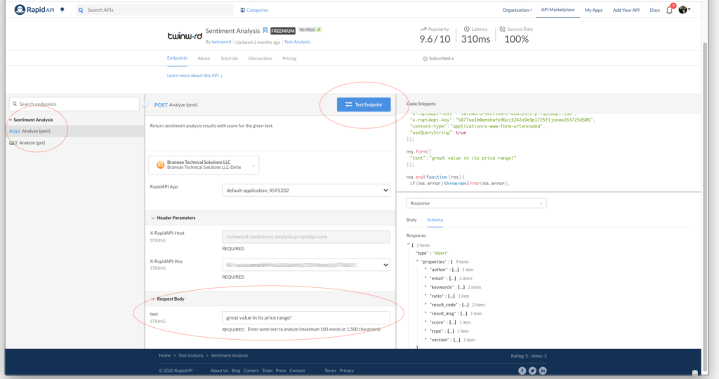 Testing responses using RapidAPI dashboard.