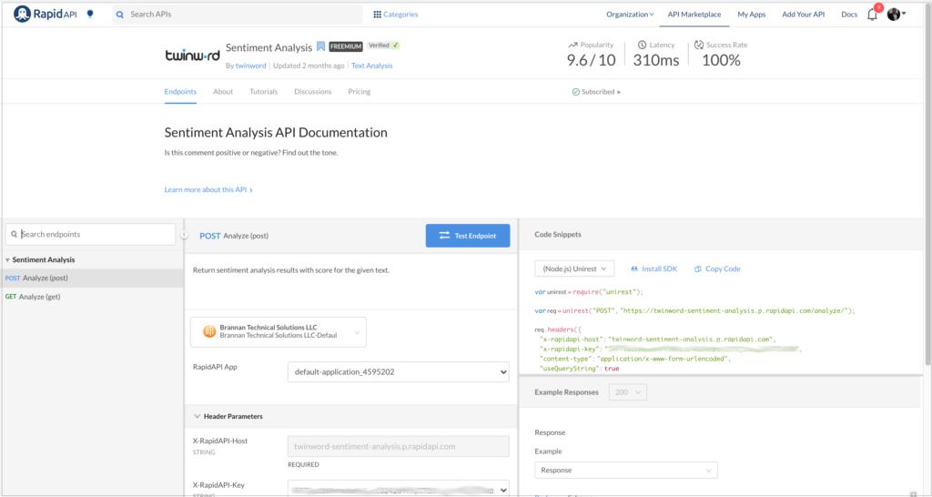 Twinword Sentiment Analysis API.