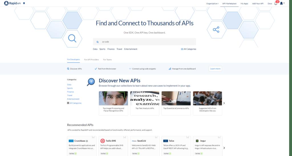 RapidAPI Homepage Search