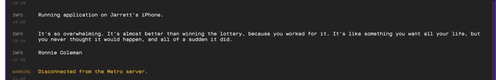 quote logged to the console