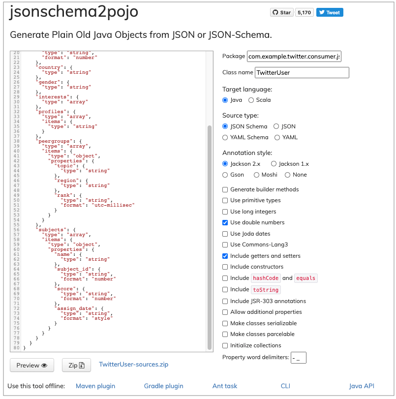 Adding the settings to jsonschematopojo settings.