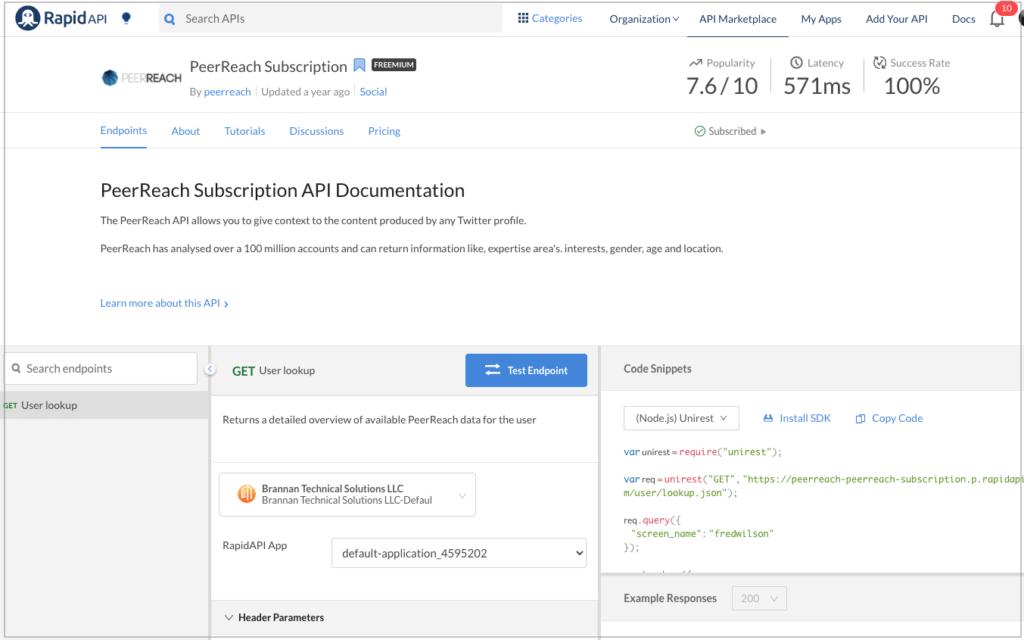 The PeerReach API dashboard on RapidAPI.
