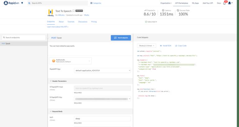 HiBrainy TTS API Console