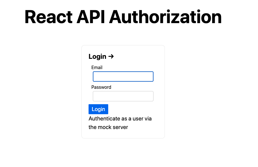 Sign in to the React API Authorization app